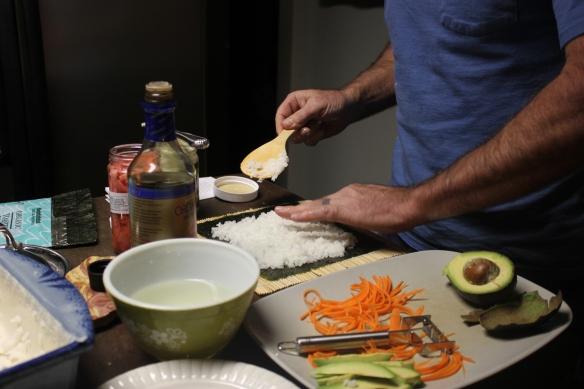 spreading on the seasoned rice