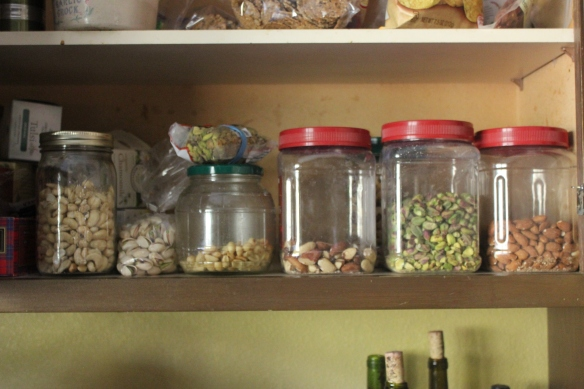 Nuts get most of a shelf at our house.